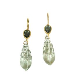 Cut Green Sapphires and Carved Fluorite Drop Earring in 18k Yellow Gold
