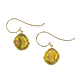 Organic Watermelon Tourmaline Drop Earrings in 18k Yellow Gold
