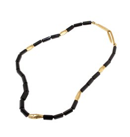 Black Tourmaline and Black Sapphire Necklace with Yellow Bronze