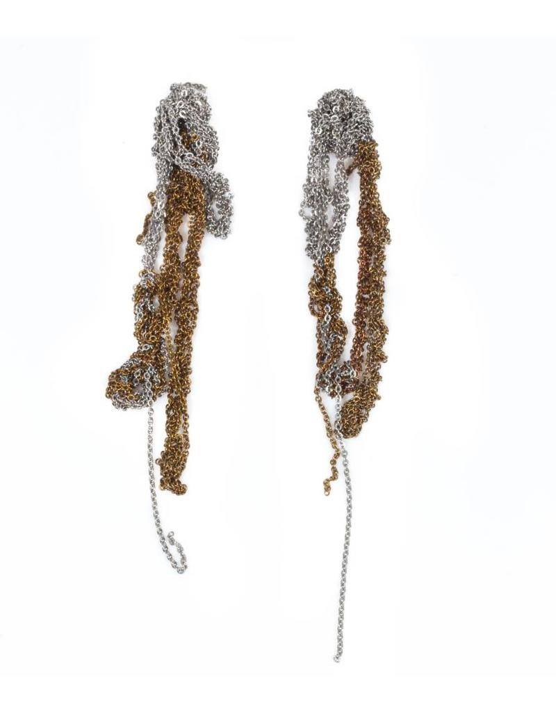 Hairy Drip Earrings in Charcoal and Champagne Steel