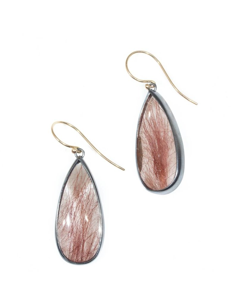 Teardrop Rutilated Quartz with Rust Thread Earrings in Oxidized Silver