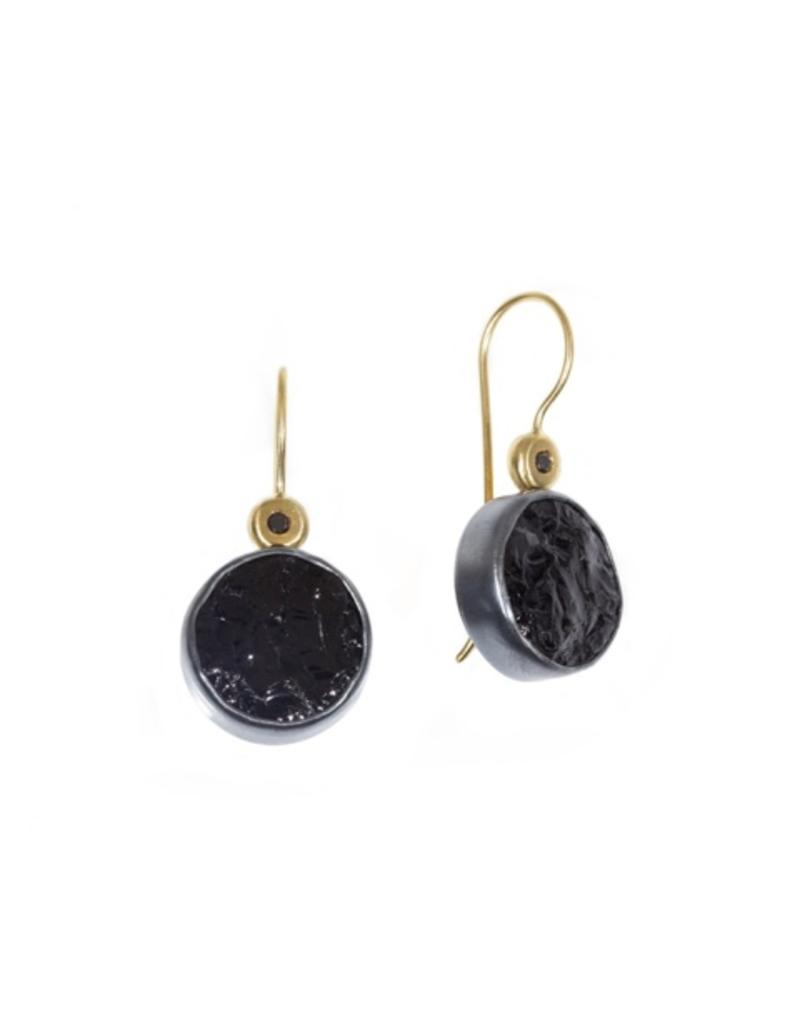 Round Black Tourmaline Earrings with Black Diamond in Oxidized Silver and 18k Yellow Gold