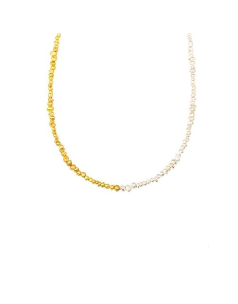 Seed Necklace in 18k Yellow Gold and Silver