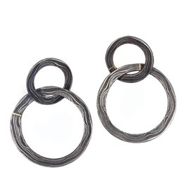 Double Circle Earrings in Damascus Steel and 18k Yellow Gold