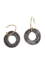 Circle Earrings in Damascus Steel and 18k Yellow Gold