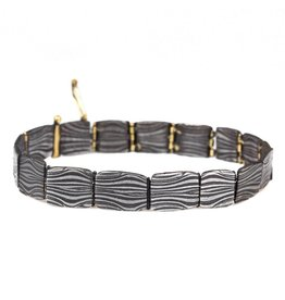 Hinged Bracelet in Damascus Steel and 18k Yellow Gold