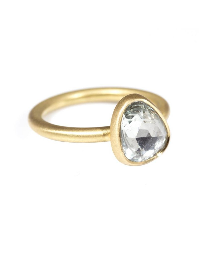 Organic Shaped White Sapphire Ring in 18k Yellow Gold
