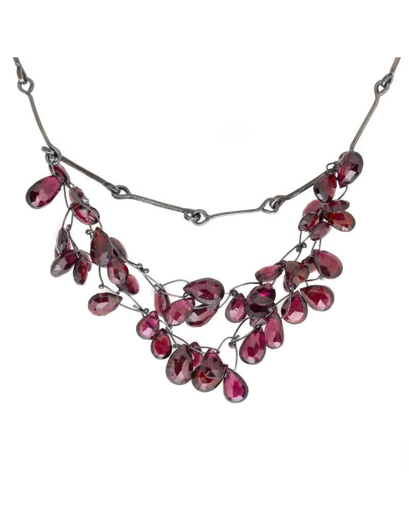 Garnet Needle Eye Necklace in Oxidized Silver