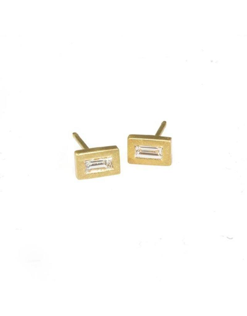 Tiny Baguette Earrings in 18k Yellow Gold