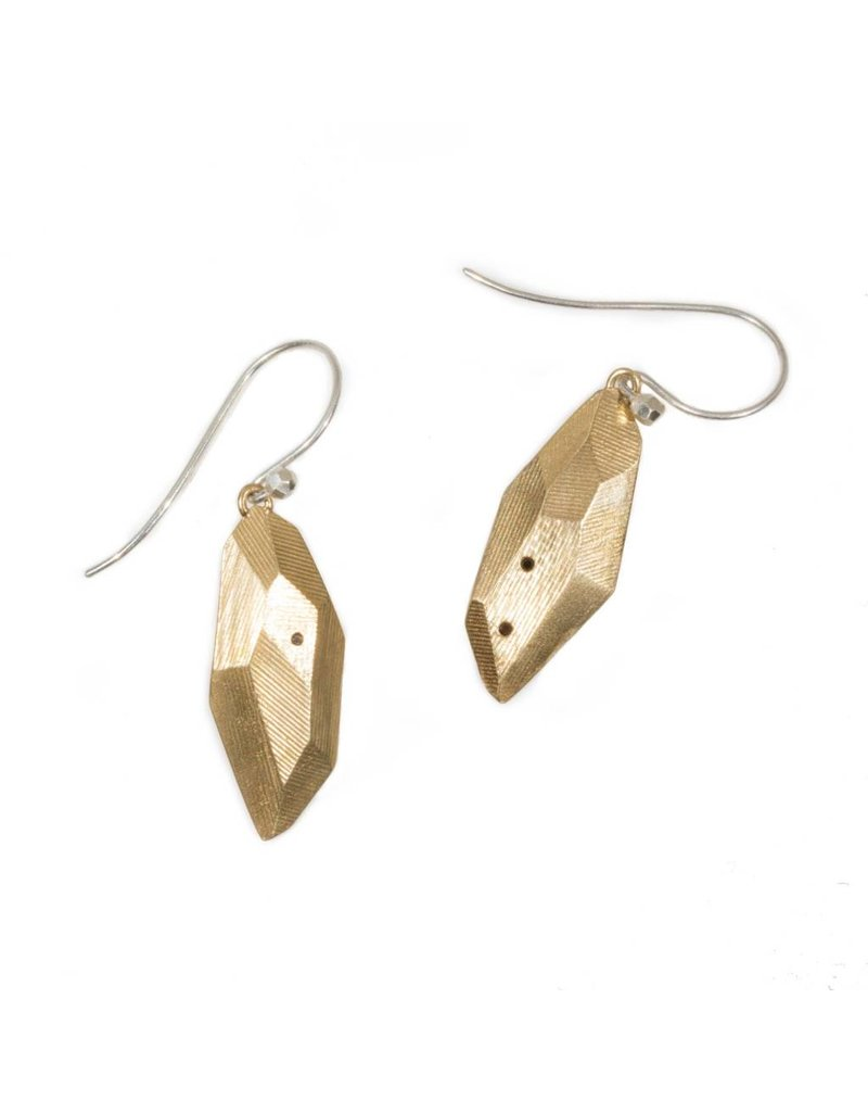 Flat Faceted Earrings with Black Sapphires in Yellow Bronze with 14k Gold Wires