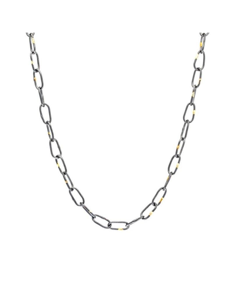Organic Chain with 18K in Oxidized Silver - 21""