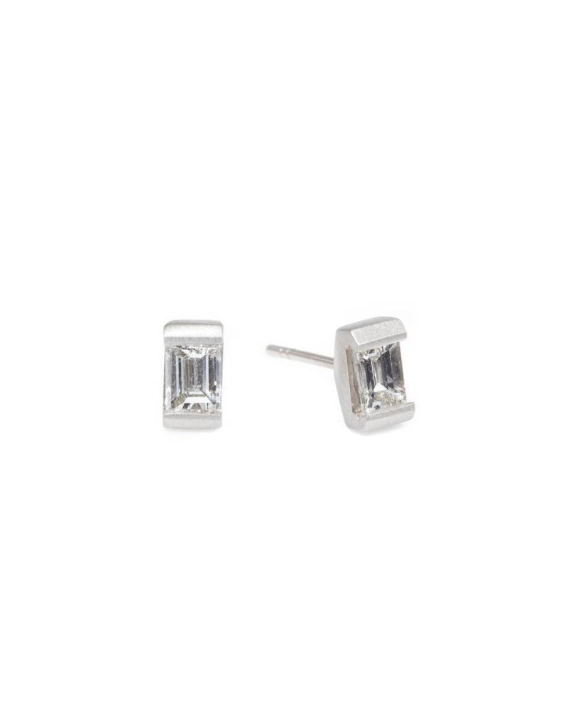 Baguette Diamond Posts in 18k Palladium White Gold