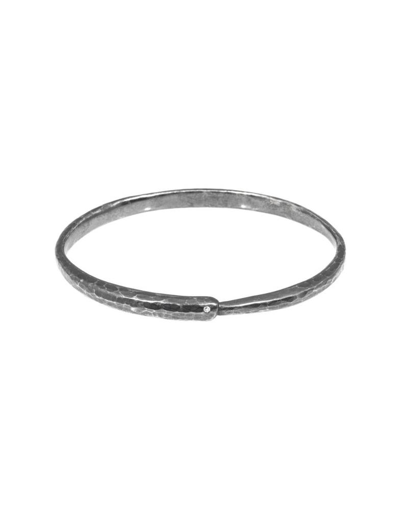 Ouroboros Bangle with diamond in Oxidized Silver