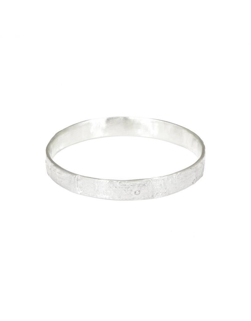 Silk Flat Bangle in Silver
