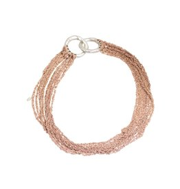 Multi-Tress Decollete Necklace in 18k Rose Gold Vermeil and Silver