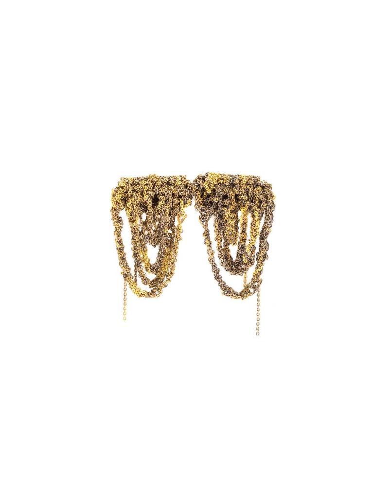 Prestige Earrings in Oxidized 18k Yellow Gold Vermeil