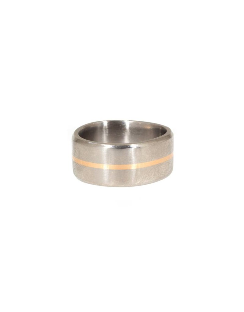 10mm Finger Shaped Band in Titanium  with Center 18k Rose Gold Inlay