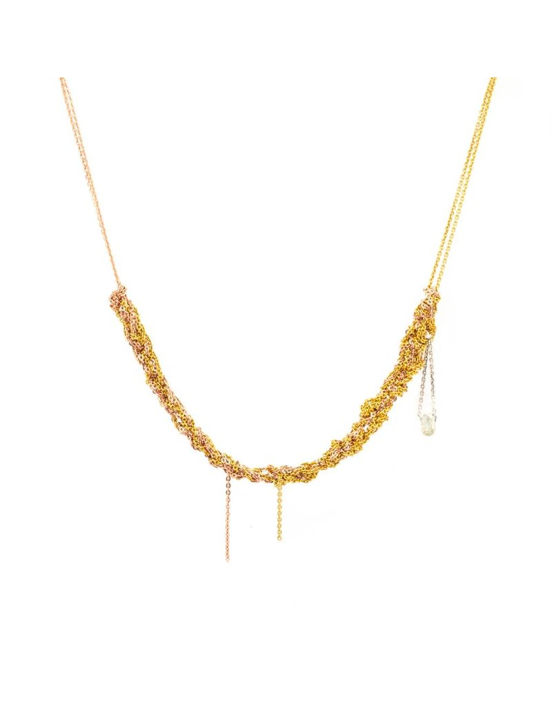 2-Tone Skinny Necklace in 18k Yellow and Rose Gold Vermeil with Sterling Silver