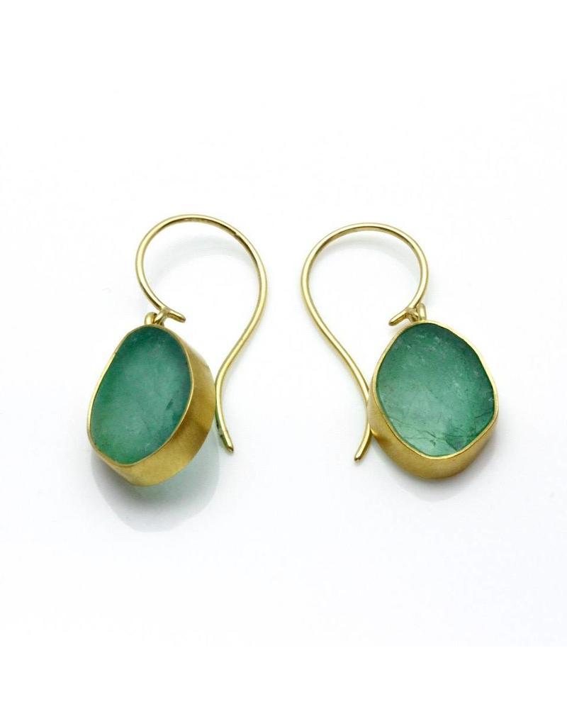 Emerald Teardrop Earrings in 18k Yellow Gold