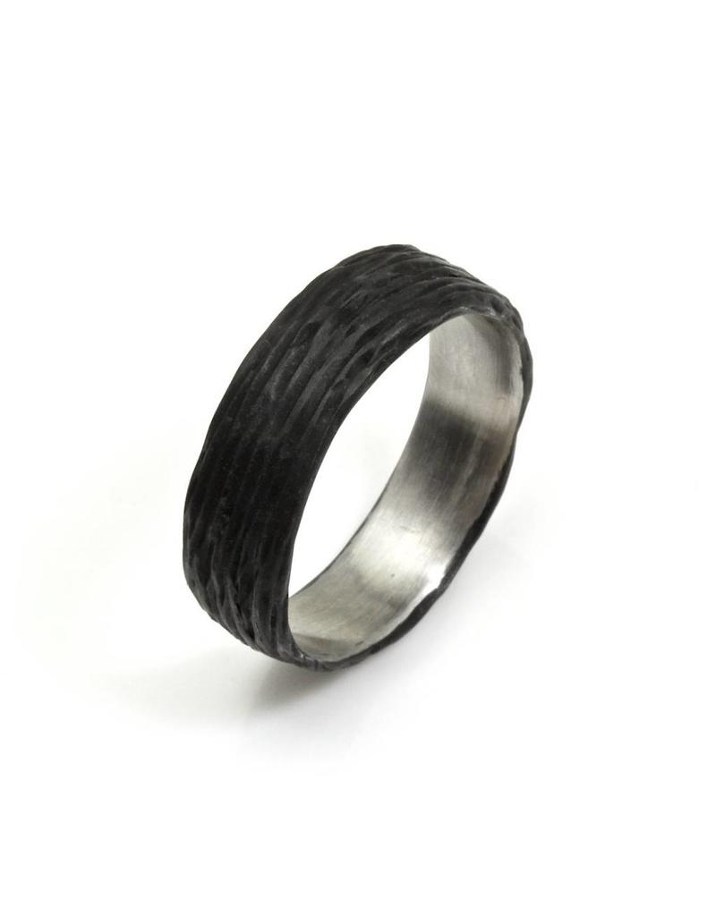 Pebble Wide Band in Blackened Steel