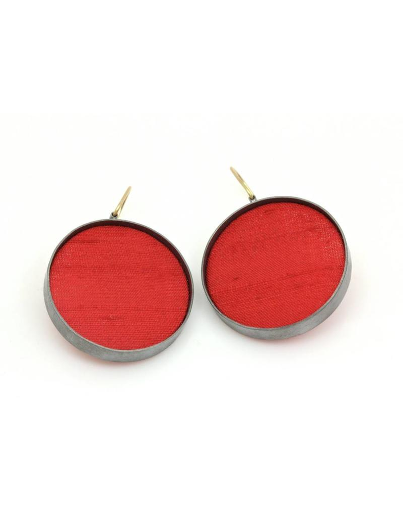 Large Red Silk Dangle Earrings