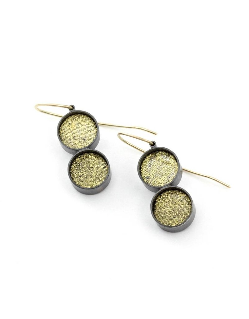 Double Small Black Silk and Gold Leaf Dangle Earrings - Circle