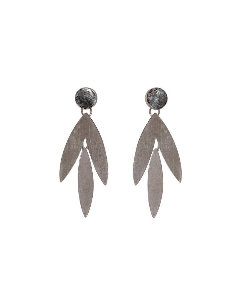 Symmetrical Flutter Earrings with Golden Mica in Oxidized Silver