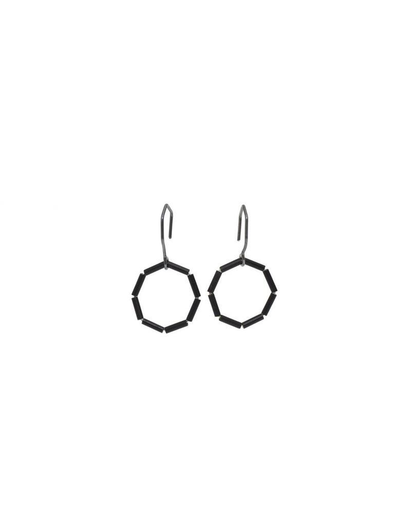 Glass Bead Octagon Earrings in Oxidized Silver