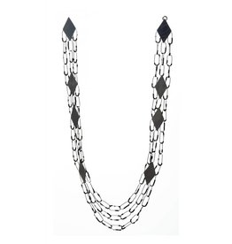Constellation Necklace with 24k-Lined Beads in Oxidized Silver