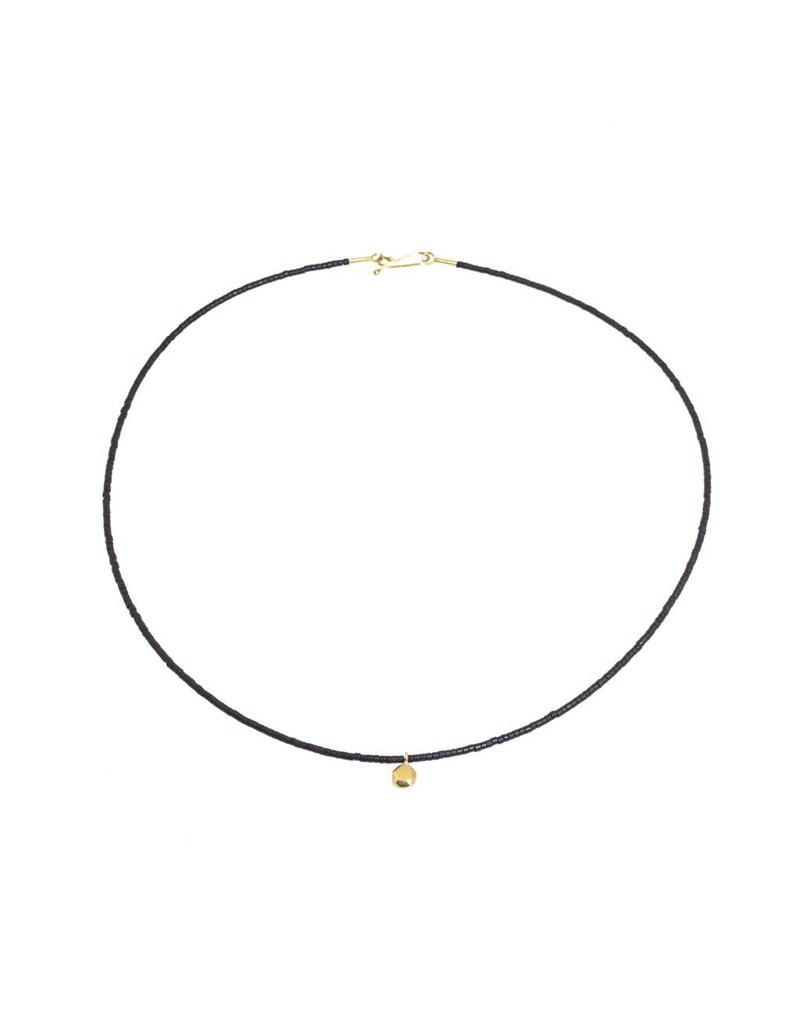 Facet Button Necklace in 18k Yellow Gold