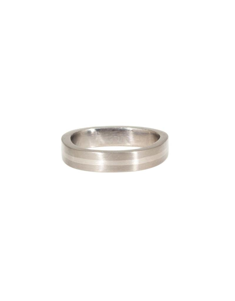 4mm Finger Shaped Band in Titanium with Center Silver Inlay