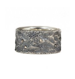 11.5 mm Topography Men's Band with Diamond Mackels in Oxidized Silver