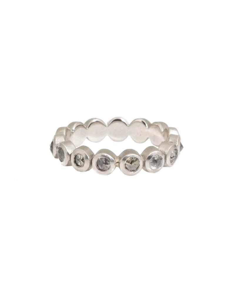 Eternity Ring with Salt and Pepper Rose Cut Diamonds in Palladium