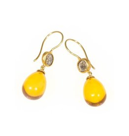 Amber Drop Earrings with Grey Diamond Slices in 22k and 18k Yellow Gold