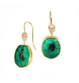 April Higashi Organic Oval Emerald Drop Earrings in 22k Gold