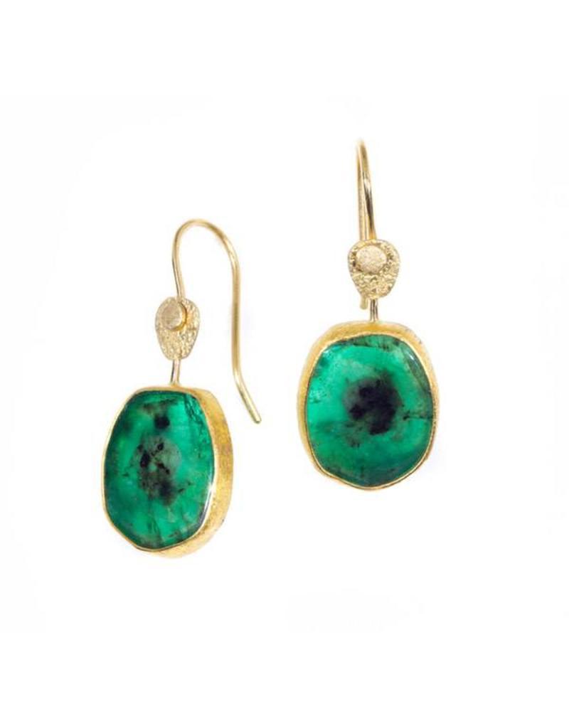 Organic Oval Emerald Drop Earrings in 22k Gold