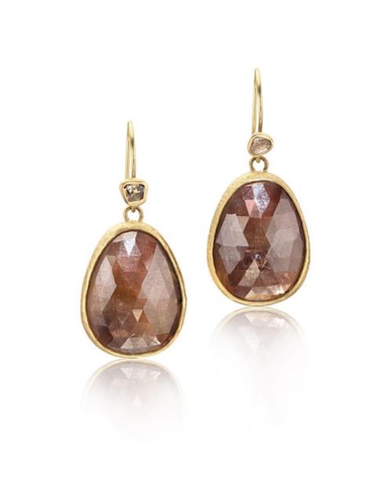 Tear Drop Rose Cut Sapphire Earrings in 22k Gold