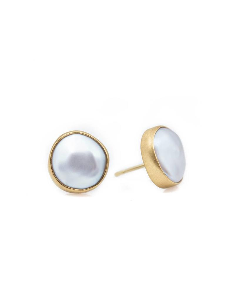 White Mabe Pearl Post Earrings in 22k Gold