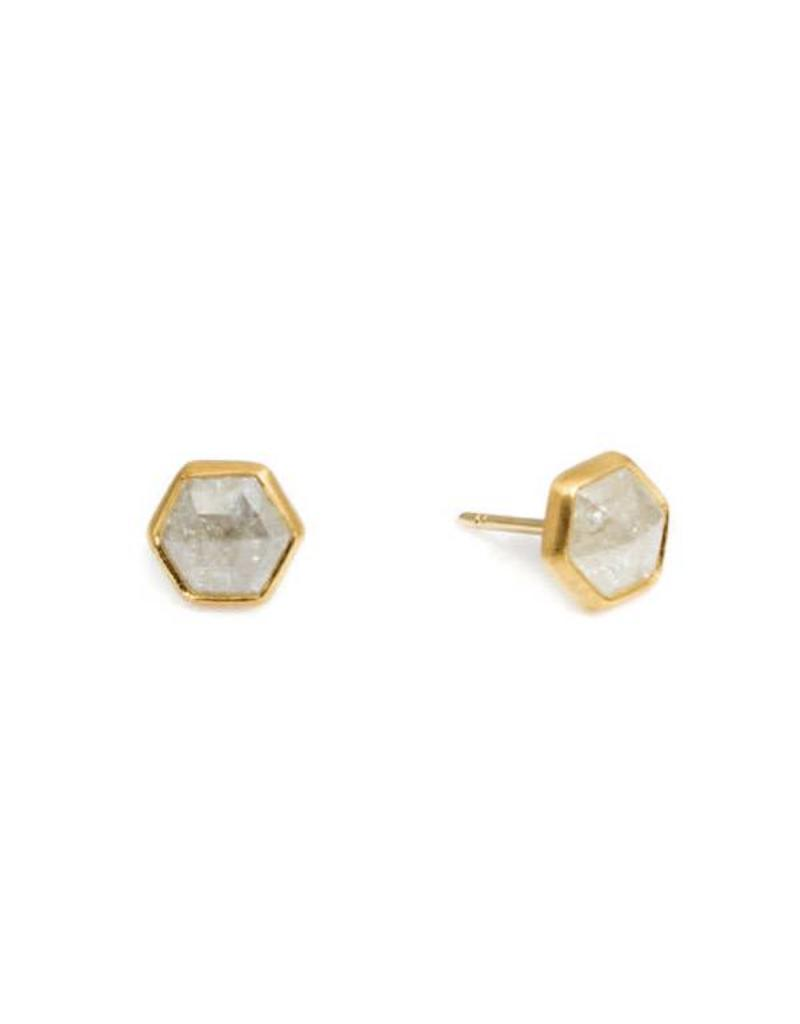 Hex Diamond Post Earrings In 22k Gold