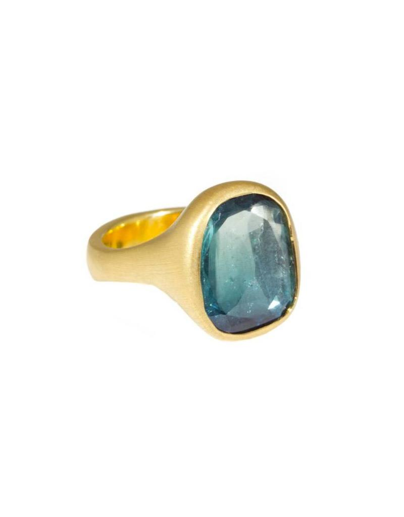 Sculptural Rose Cut Blue Tourmaline Ring in 18k Yellow Gold