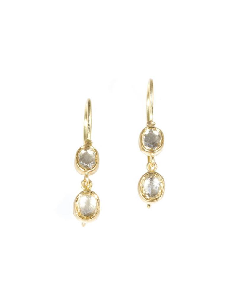 Double Oval Sapphire Drop Earrings in 18k Yellow Gold