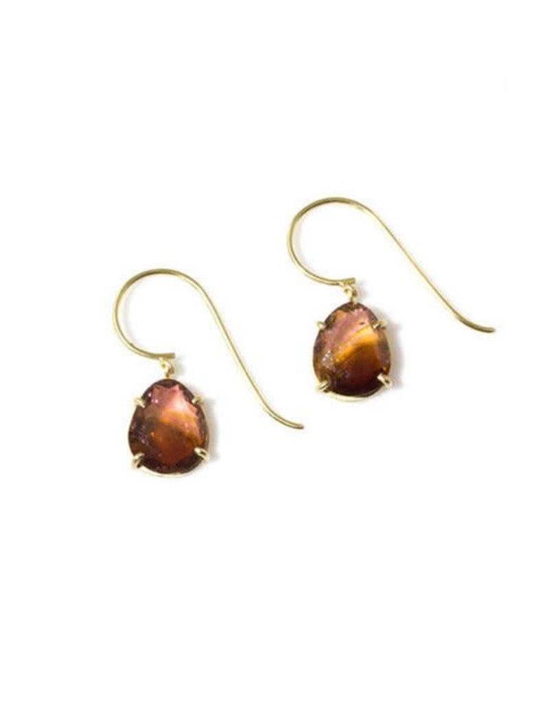 Prong Set Organic Tourmaline Drop Earrings in 18k Yellow Gold
