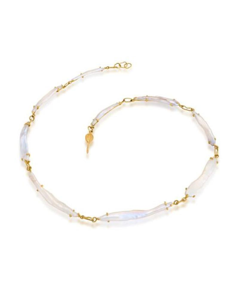 American Keishi Cultured Pearl Necklace with 18k Gold Settings