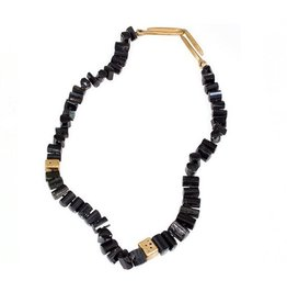 Black Tourmaline, Black Diamond, and Bronze Necklace