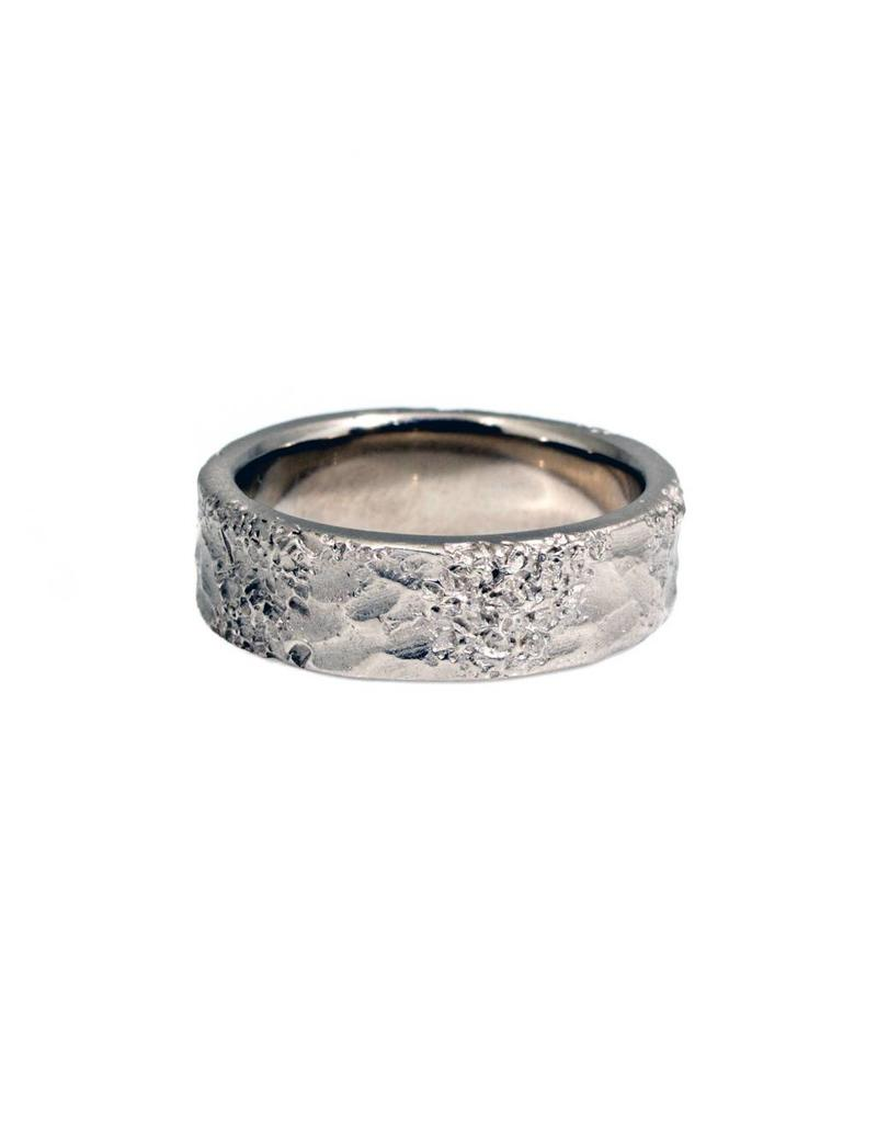 6.5mm Topography Men's Band in White Gold