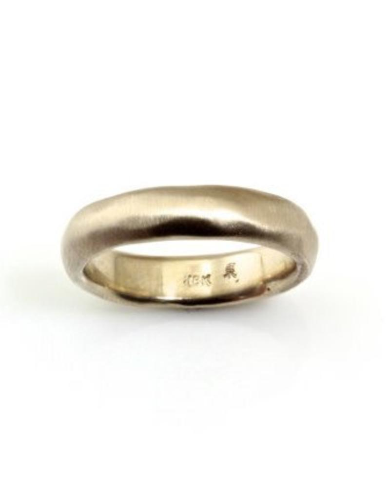 5mm Half Round Band with Modeled Texture  in 18k Warm White Gold
