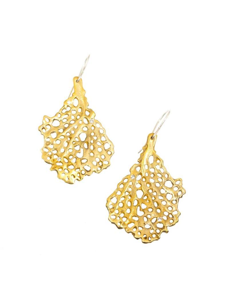 Koraru Coral Earrings with Six White Sapphires in Bronze