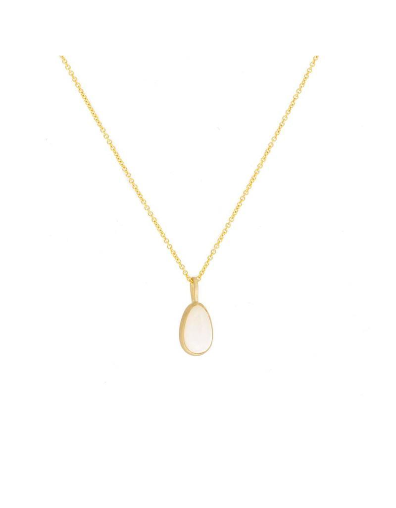 Opal Pendant in 18k Yellow Gold & Steel Cut Chain