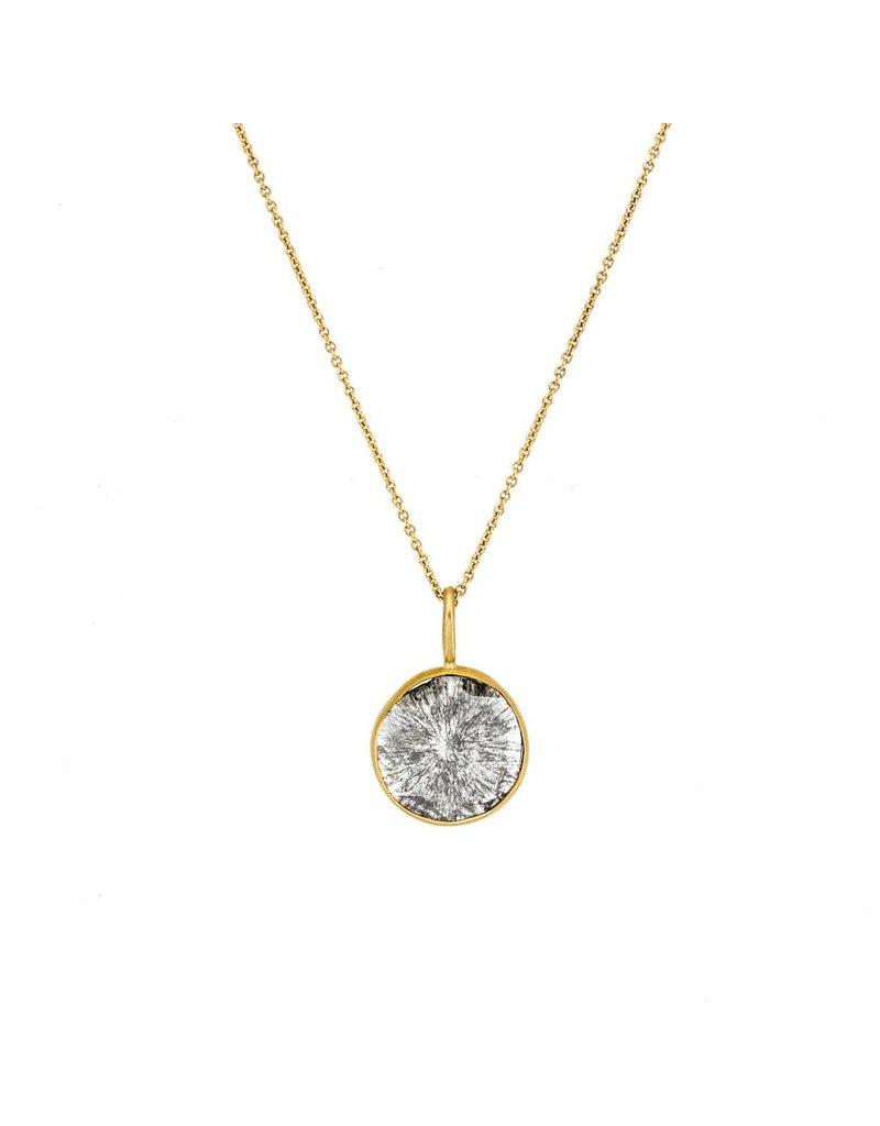 Round Diamond Slice Pendant in 18k Yellow Gold