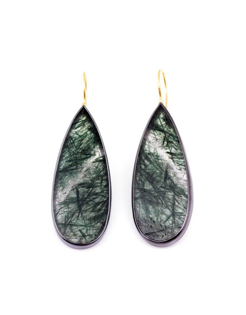 Long Teardrop Rutilated Quartz Earrings with Dark Green Striations  in Oxidized Silver